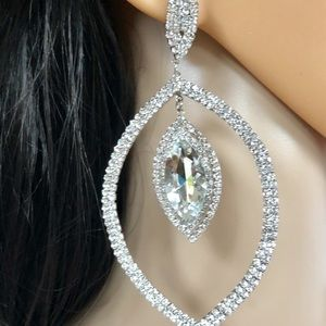 Lux Statement Oversized Rhinestone Earrings